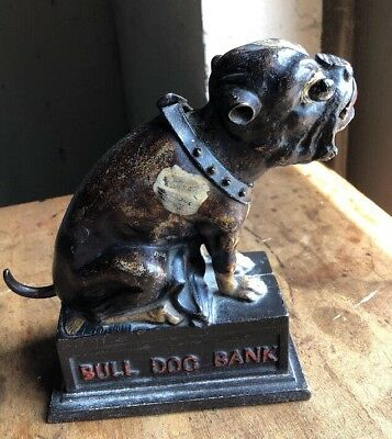 Antique Bank Bull Dog Cast Original Paint J E Stevens 1890's