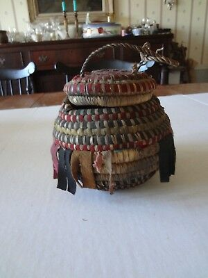"""Vintage African Herb coil basket with cloth fringe as is 5.5."""" tall"""