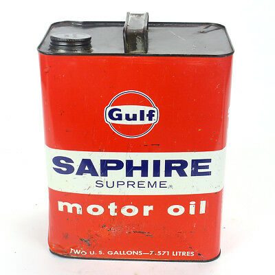 Vintage Gulf Saphire Motor Oil 2 Gallon Can