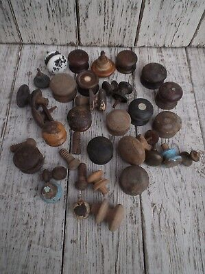 Job Lot Of 20 Vintage Drawer Knobs Furniture Knobs, Wood, Brass And Pottery