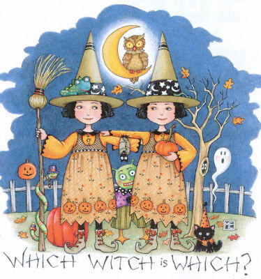 WHICH WITCH?-Handcrafted Halloween Twins Fridge Magnet-w/Mary Engelbreit art