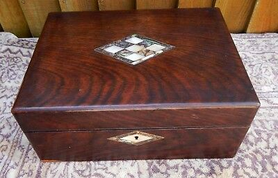Antique Victorian Rosewood Sewing Workbox With Mother Of Pearl Inlaid Decoration