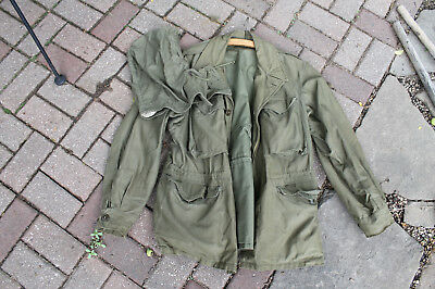 VINTAGE 1945​ WW2​ WWII M-1943​ M43​ US​ ARMY​ MILITARY​ FIELD​ JACKET​ 36R hood