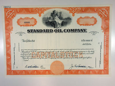 IN. Standard Oil Co 1940-50s Specimen <100 Shrs Stock Certificate XF ABN Orange