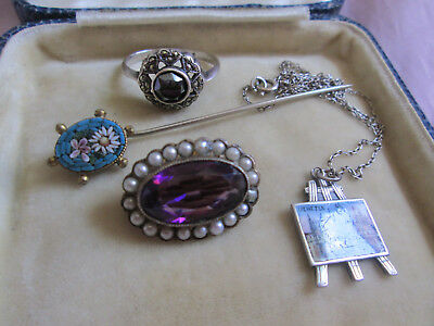 Mixed Lot Antique & Vintage Jewellery, Micro Mosaic, Seed Pearl, Art Deco Ring