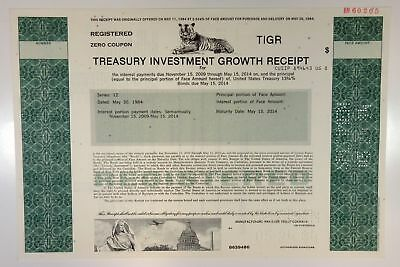 TIGR Treasury Investment Growth Receipt 1984 Specimen Bond 13 1/4% XF SC-USBN