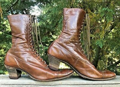 Women's Antique Vintage 1900's Victorian Brown Leather Shoes Boots Size 8-9?