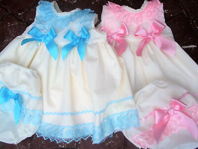 Dream Baby  Dress And Knickers Cream Turquoise / Pink  0-3 Years Or Reborn Dolls