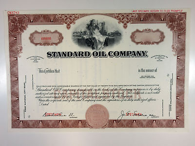 IN. Standard Oil Co. 1940-50s Specimen Odd Shares Stock Certificate XF ABN brown