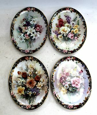 Collection Of x4 LENA LIU Floral Decorative COLLECTORS PLATES / UNBOXED - N26