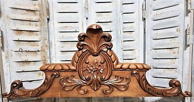 Achitectural flower scroll leaves pediment antique french hand carved wood crest