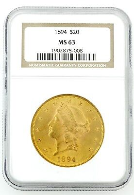 1894 Us $20.00 Liberty Gold Piece Ngc Certified Ms 63Great Frosty Beautiful Coin
