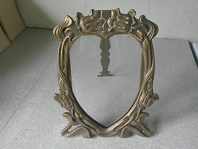 Antique Reproduction Brass Photograph Frame On Stand- Art Nouveau - Heart Shaped