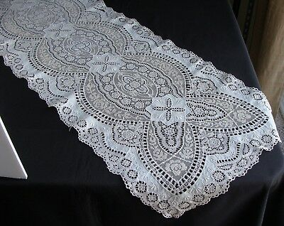 "Antique Vintage Schiffli Embroidered Tulle Net Cotton Lace Runner 45"" Long"