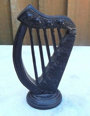 Antique Treen Hand Carved Irish Bog Oak Killeaney Irish Harp