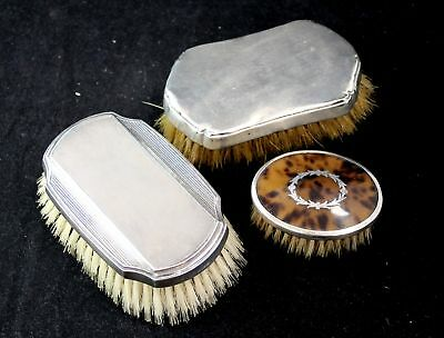 3x Antique Vintage Hallmarked SILVER VANITY/HAIR BRUSHES - Y96