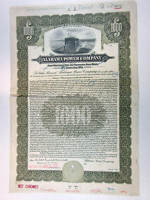 Alabama Power Co. 1922 Proof $1000 5% Gold Coupon Bond (No Coupons) VF ABN