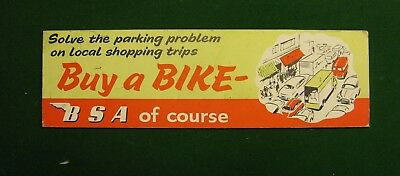 Bsa Shop Sign Original Rare Believe 50's Lovely Condition Over 1Ft Long On Board