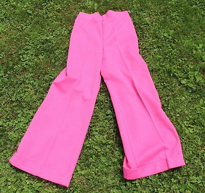 Ladies Vintage 1970s Pink Polyester Wide Leg Pants Slacks Palazzo