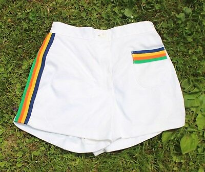 Ladies Girls Vintage 1970s White Polyester Tennis Shorts Sears