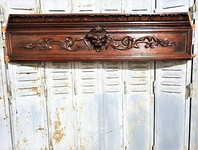 Architectural Gothic Griffin Pediment Antique French Hand Carved Wood Trim Panel