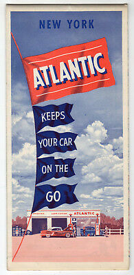 1940s Fold-Out Road Map Of New York From Atlantic Gas Station And Motor Oil