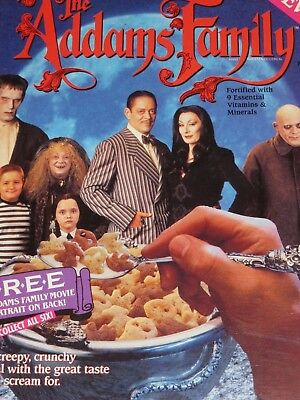 VINTAGE Cereal  BOX 1991 THE ADDAMS FAMILY Movie Tie In Cousin It Image on Back