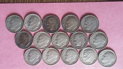R085 Roosevelt 90% silver dime lot of 15 coins combine ship + $1 more per win