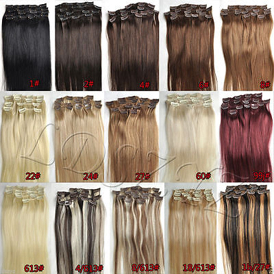 Full Head Clip in Hair Extensions 14''-30'' Remy Human Hair 100g 120g 140g 200g