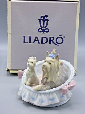 "LLADRO""Yorkshires. Our Cozy Home"" Dogs Porcelain Figurine 6469 W/ Box"