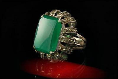 Vintage Art Deco Green Onyx Marcasite Sterling Ring A807-72