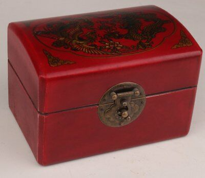 Unique Leather Wood Dragon & Phoenix China Old Wedding Jewelry Box