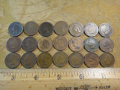 Indian Penny Lot 21 Different Dates 1864-1903 (Not Complete Run) - Free S&H USA