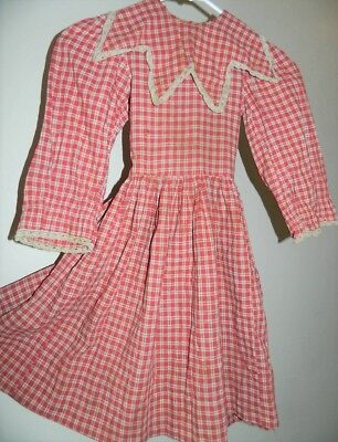 BEST Antique Red & Cream Gingham Child's School Dress