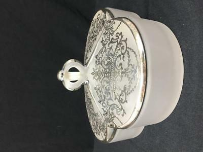 Duncan Miller #106 Rockwell Sliver Overlay Divided Box Glass Covered Candy Dish