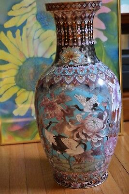 """Chinese Cloisonné Enamel Large Vase With Birds And Flowers 15 1/4"""" Tall"""