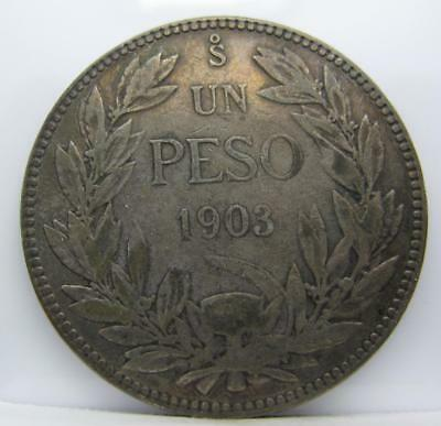 Chile 1903 Silver Peso! Fine! Km# 152.2! Only 372,000! Really Nice Type Coin!