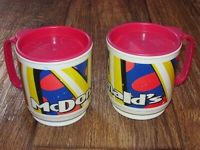 Lot Of 2 1995 McDonald's Plastic Coffee Cups With Lids, Multi Colored,