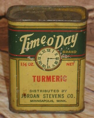 Vintage TIME O' Day Tumeric Spice Tin Green & Yellow Minneapoilis, MN.