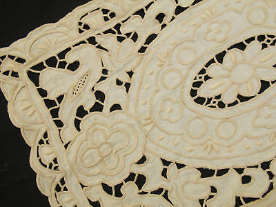 SET of 8 VINTAGE Antique MADEIRA HEAVY HAND EMBROIDERED CUT WORK LINEN Placemats