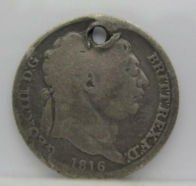 Great Britain 1816 Silver 6-Pence! Holed! Km# 665! Nice Hole-Filler Type Coin!