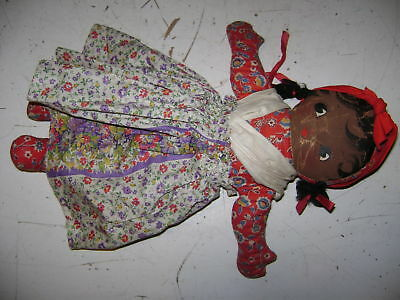 Old Antique Vintage Rag Doll Hand Made Black Americana Girl Feed Sack Fabric