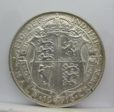 Great Britain 1916 Silver 1/2-Crown! Very Fine++! Km# 818.1! Really Nice Coin!