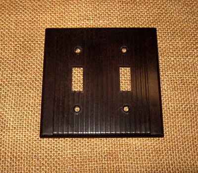 Vintage Art Deco Ribbed LEVITON Ivory Brown Two Gang Switch Plates