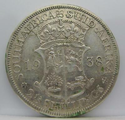 South Africa 1938 Silver 2-1/2-Shillings! Very Fine! Km# 30! Nice Old Type Coin!