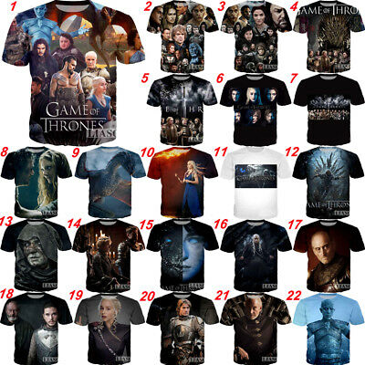 2018 Hot Women/Men Game of Thrones 3D print Short Sleeve Casual T-Shirts S-5XL