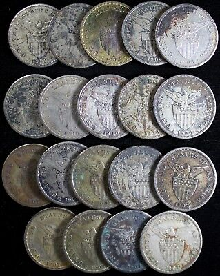 (19) 1907 1908 1909-S Philippine Pesos ~ Sea Salvaged after WWII ~ 80% Silver