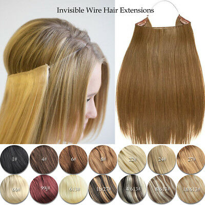 """16-30""""  80G-135G Halo Real Remy Human Hair Hidden Invisible Wire Hair Extensions"""