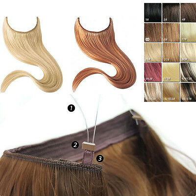 24-30Inch 100G-140G Hidden Halo Invisible Wire Flip on/in  Human Hair Extensions