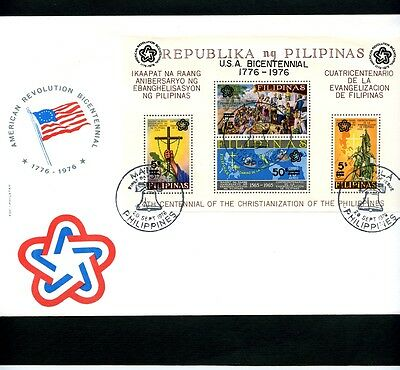 Briefmarken , Philippinen,Block U.S.A. Bicentennial 20.Sep.1976,Sonderstempel
